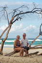 Senior couple at the beach full body portrait of attractive happy together on holidays Stock Photos