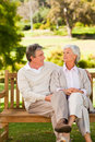 Senior couple on the bench Stock Photography