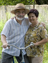 Senior couple bicycling Stock Photography