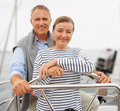 Senior couple on a boat voyage at the sea Royalty Free Stock Photo