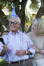 Senior Couple Celebrating Birthday Royalty Free Stock Photo
