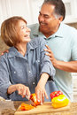 Senior couple cooking together Royalty Free Stock Photos