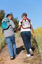 Senior couple on country hike Royalty Free Stock Photo