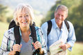 Senior couple on country walk Stock Images