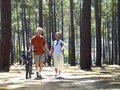 Senior couple in cycling helmets walking through wood with bicycles holding hands front view Stock Images