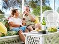 Senior couple drinking wine Royalty Free Stock Photo