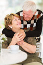 Senior couple embracing beautiful and looking at each other Royalty Free Stock Images