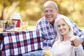 Senior couple enjoying camping holiday in countryside smiling to camera Stock Images