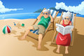 Senior couple enjoying their retirement a vector illustration of happy at the beach Stock Images