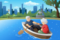 Senior couple enjoying their retirement a vector illustration of happy rowing a boat on lake Stock Image