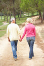 Senior Couple enjoying walk in park Royalty Free Stock Photos