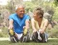 Senior Couple Exercising In Park Royalty Free Stock Photo
