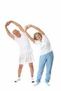 Senior couple exercising portrait of on a white background Stock Photos