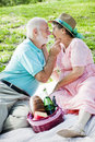 Senior Couple Gets Romantic Royalty Free Stock Image