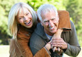 Senior couple happy relaxing in park golden age Stock Photo