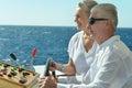 Senior couple having boat ride amusing elderly have a in a on sea Stock Photos