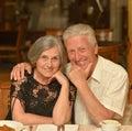 Senior couple having a dinner at restaurant Stock Photo