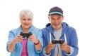 Senior couple having fun playing video games Royalty Free Stock Photo
