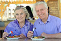 Senior couple having lunch Royalty Free Stock Photo