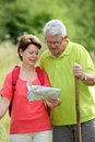 Senior couple on a hiking day Royalty Free Stock Photo
