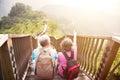 senior couple hiking on the mountain Royalty Free Stock Photo