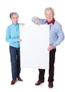 Senior couple holding blank placard happy on white background Royalty Free Stock Photos