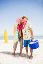 Senior couple holding icebox Royalty Free Stock Photo