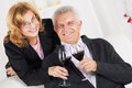 Senior couple in home interior enjoying in glass of wine Stock Images