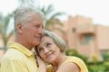 Senior couple at hotel resort run tropic Royalty Free Stock Photos