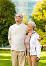 Senior couple hugging in city park family age tourism travel and people concept Stock Images