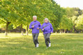 Senior couple jogging in  park Royalty Free Stock Photo