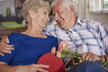 Senior couple in love adult celebrating their anniversary Stock Images