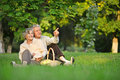 Senior couple on nature man pointing something Stock Images