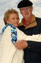 Senior couple outdoors winter Royalty Free Stock Photo