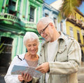 Senior couple over latin american city street Royalty Free Stock Photo