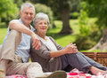 Senior couple with picnic basket at park Stock Photography