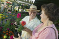 Senior couple at the plant nursery happy shopping for flowers Royalty Free Stock Image