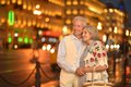 Senior couple portrait of beautiful on a night street Stock Photography