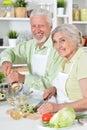 Senior couple preparing dinner Royalty Free Stock Photo