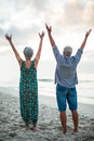 Senior couple raising their arms at the beach Royalty Free Stock Images