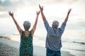 Senior couple raising their arms at the beach Royalty Free Stock Image