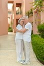 Senior couple resting at the resort during vacation Stock Photography