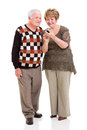 Senior couple smart phone lovely using on white background Royalty Free Stock Photo
