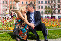 Senior couple during spring in the city Royalty Free Stock Image
