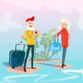 Senior Couple Summer Tropical Island Seaside Vacation Royalty Free Stock Photo