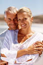 Senior couple on a sunny day at the beach Royalty Free Stock Images