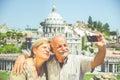 Senior couple taking a selfie happy Stock Photography