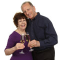Senior couple toasting champagne glass over white background Royalty Free Stock Photos