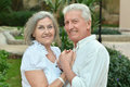 Senior couple at tropic garden Royalty Free Stock Photo