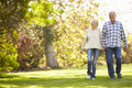 Senior couple walking through autumn woodland smiling to camera Royalty Free Stock Photo